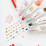 Chris.W 5Pcs Novelty Cute Cartoon Correction Tape Pen Kawaii Stationery Masking Tape School Supplies DIY Scrapbooking Stickers Diary Decor Tape(Multi-Color) (Color: MultiColor, Tamaño: 11x2.7cm)