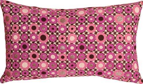 Pillow Decor - Houndstooth Spheres 12x20 Pink Throw Pillow