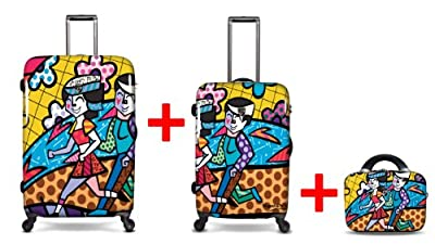 Heys USA - 3pcs. - SET 100 GBP Discount - Britto Spring Love, High-quality designer artist luggage set - 66 cm, 76 cm 4-wheels Trolley and Beauty Case from Heys USA