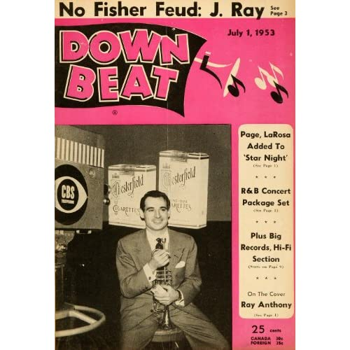 1953 Cover Down Beat Ray Anthony Trumpet Big Band Actor   Original Cover