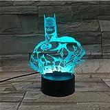 LE3D 3D Optical Illusion Desk Lamp/3D Optical Illusion Night Light, 7 Color LED 3D Lamp, Justice League 3D LED For Kids and Adults, Batman Light Up