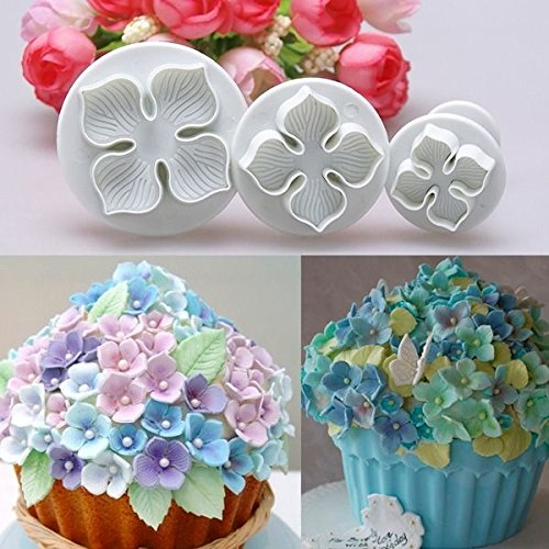 Ainest 3pc Nice Fondant Cake Decorating Sugarcraft Plunger Cutter Hydrangea Flower Mold (Oreo Cookie Pan compare prices)