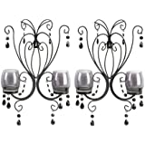 2 BLACK French Chic Chandelier Wall Sconce Shabby Candle Holder PAIR