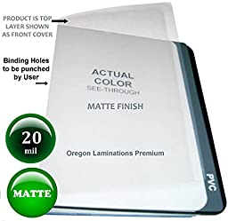 20 Mil Extra Thick Matte Clear Plastic Binding Covers Report Cover Sheets 8-1/2 x 11 Qty 25