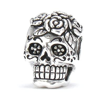 Bella Fascini Dia De Los Muertos - Day Of The Dead Decorated Rose Skull - Cole Collection - Solid 925 Sterling Silver European Charm Bracelet Bead - Compatible Brands: Authentic Pandora, Chamilia, Moress, Troll, Ohm, Zable, Biagi, Kay's Charmed Memories,