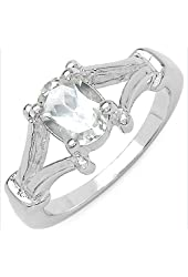 White Cubic Zirconia Oval 8x6 mm Ring in 925 Sterling Silver- Ring Size 8