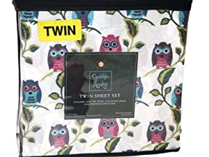 Amazon Com Owl Twin Sheet Set By Cynthia Rowley 100