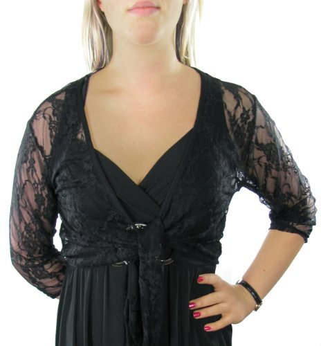 clearance Ladies Lace Tie Front Bolero Shrugs Cardigan Tops in Black for women, including plus sizes