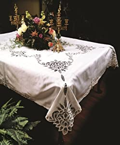 "Betenburg Lace Design Tablecloth White 52"" by 70"" Oblong / Rectangle"