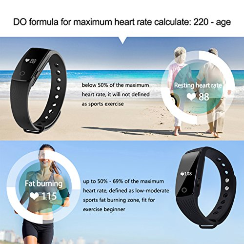 Fitness Tracker, Heart Rate Monitor Watch, Sokos Bluetooth Smart Fitness Tracker Armband | Wristband | Bracelet with OLED Display and free iOS Android APP (Black)