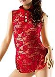 R-STYLE 女性の魅力を強調する シースルー チャイナドレス オリジナルセクシーショーツ付きセット (ミニレッド)