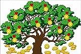 風水 ラッキー ツリー 金のなる木 クロスステッチ 刺繍 キット 図柄印刷 セット インテリア (光沢糸) …