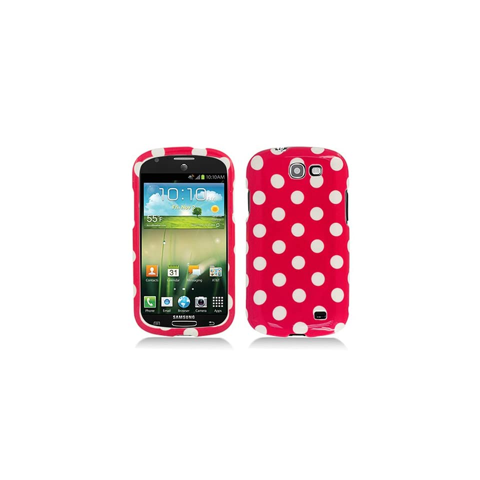 Hot Pink White Polka Dot Hard Cover Case for Samsung Galaxy Express SGH I437 Cell Phones & Accessories
