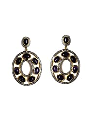 AN Designs Sterling Silver With Gold Plated Earring For Women - B00MTIQ24Y