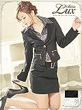 【BELSIA LUX】2way!取り外し可shinyストライプ柄シャツ付きスーツ/ミ二タイプ(S/M/L) (黒/白)*500190