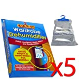 Hanging Wardrobe Dehumidifier - In Pack size of 1/2/3/5 (Pack of 5)