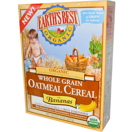Organic Whole Grain Oatmeal Cereal with Banana 8 Ounces (Case of 12)