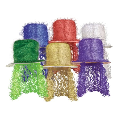 Tinsel Top Hat w/Curly Wig (asstd colors) Party Accessory  (1 count) (1/Pkg)