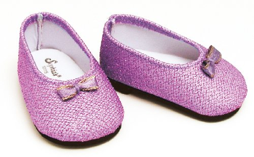 Purple Glitter Doll Shoes Fits American Girl 18 Inch Dolls, Doll Dress Shoes