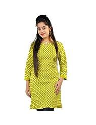 Jaipur RagaEthnic Green Printed Light Green Cotton Top Green Girls Kurti