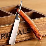 Straight Razor Shaving Kit Wood Edge Stainless Steel Handle Barber Folding Knife