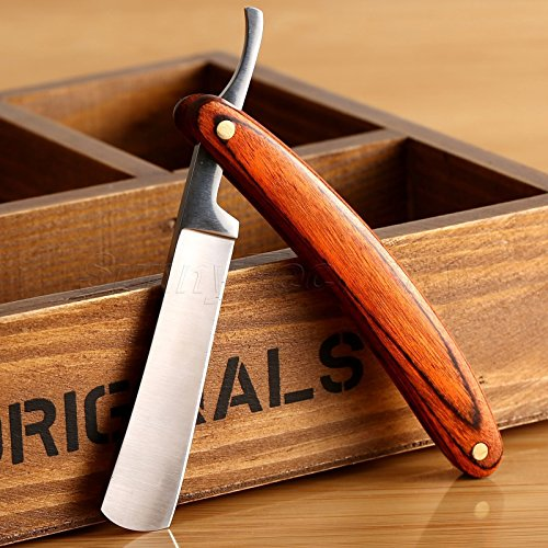 Straight Razor Shaving Kit Wood Edge Stainless Steel Handle Barber Folding Knife
