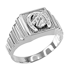 buy Men'S Polished 925 Sterling Silver Layered Band Square Face Horse Head In Horseshoe Ring (Size 15.75)