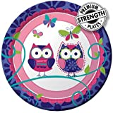 Creative Converting Owl Pal Round Dessert Plates, 8 Count