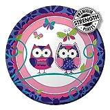 Creative Converting Owl Pal Round Dessert Plates, 8 Count
