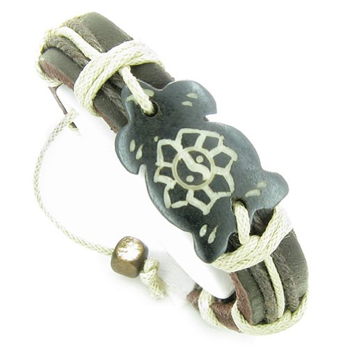 Amulet Leather Bracelet Turtle and Yin Yang Lotus Natural Lucky Charm