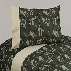 4pc Queen Sheet Set for Green Camo Bedding Collection by Sweet Jojo Designs