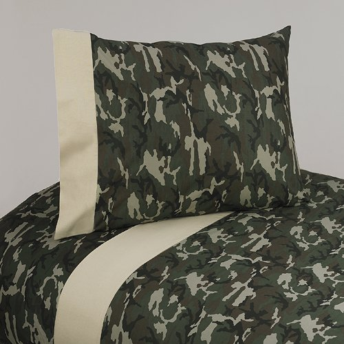 3 Piece Twin Size Camouflage Sheet Set – Green Camouflage Bedding Collection