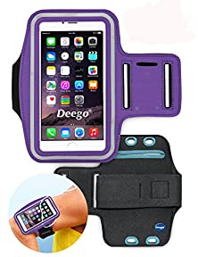 buy Deego Premium Running Series Easy Fit Galaxy Note 5 Edge S6 Edge Plus + Note 4 Note 3 Sports Armband Exercise Gym Jogging Running Walking Fits Lg G4 G Stylo Zte Zmax + Key Holder Sweat Proof (Purple)