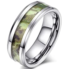 buy Mens 8Mm Tungsten Carbide Ring Army Green Camouflage Hunting Camo Wedding Engagement Band Beveled Edge Comfort Fit
