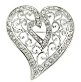 Arabesque Love Swirls Silver Heart Rhinestone Brooch Pin with Clear Crystals thumbnail