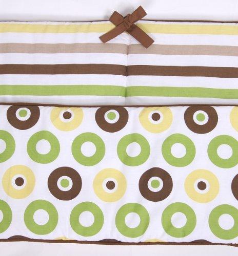 Mod Dots/Stripes Green/choco Bumper Pad