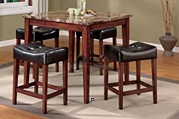 Counter Height Table Set (Table + 4 Chairs) in 5 Piece in Dark Oak Finish by Furniture of America