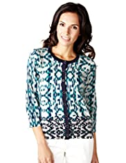 Per Una Cotton Rich Geometric Print Cardigan