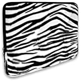 Faux-fur Textured Zebra Print Laptop Sleeve Carrying Case for HP Mini 110 210 2133 2140 (10.1 inch) Netbook ~ MyGift