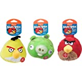 """Hartz Angry Birds 5"""" Plush Ball with Sound chip  - Dog Toy Set,  Pack of 3  - Officially Licensed by Rovio"""