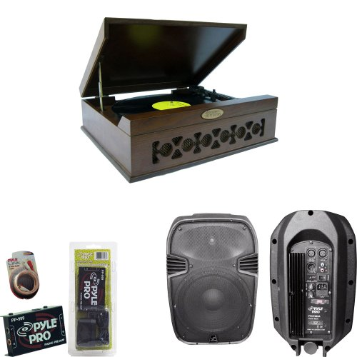 Pyle Turntable Record Player, Pre-Amplifier, Rca Cable And Speaker Package - Pvntt6Umt Vintage Style Phonograph/Turntable With Usb-To-Pc Connection - Pp999 Phono Turntable Pre-Amplifier - Pphp885A 400 Watts 8'' Powered 2 Way Plastic Molded Speaker System