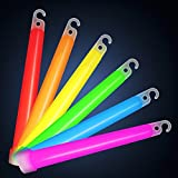 #1 Premiun 6 Inches Glow Sticks Assorted Pack - 15 per pack - Long Lasting (up to 10hrs) Military, Party, Emergency, High Intensity, Party, Camping Stick. Great for Fishing, Safety Survival, Tactical, Flashlights. Also for Glow in the Dark, Costumes