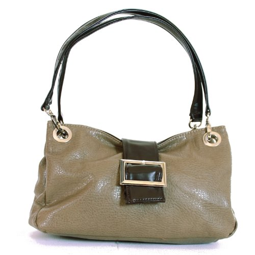 Ladies Buckle Handbag Shoulder Bag Italian Purse - Khaki