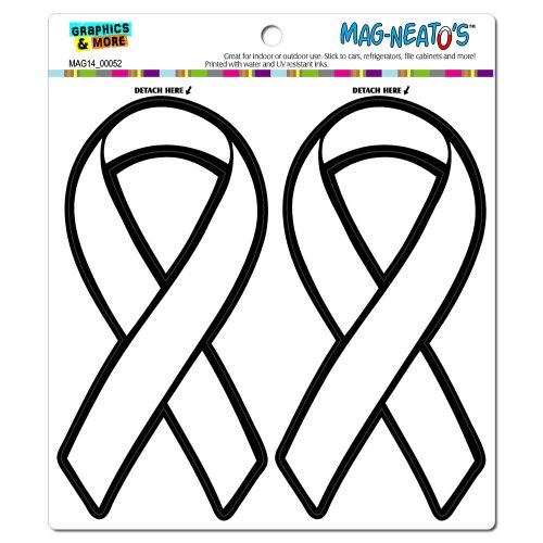 White Awareness Support Ribbon Lung Cancer Mag-Neato'S(Tm) Automotive Car Refrigerator Locker Vinyl Magnet Set front-564046