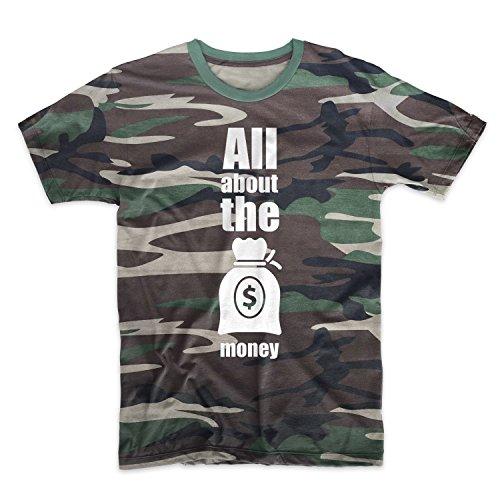 All About The I soldi Hustler Motivazionale Camuffare Uomo T-Shirt Maglietta Camo Large