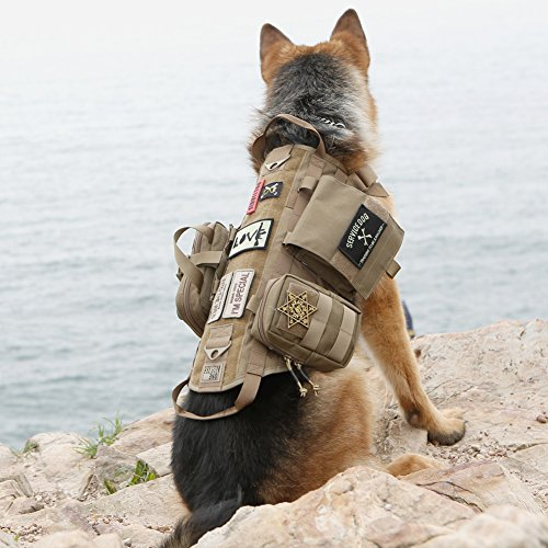 OneTigris Tactical Dog Molle Vest Harness Training Dog Vest with Detachable Pouches (Tan, Large) (Dog Water Harness compare prices)