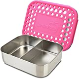 LunchBots Duo Stainless Steel 2 Section Snack Container, Stainless Steel Lid, Pink Dots Cover, Dishwasher Safe