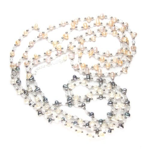 Multi Color Genuine Cultured Pearls, Four Strand Necklace