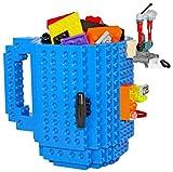 Build-On Brick Mug with building bricks - BPA-free 12oz coffee mug - Blue