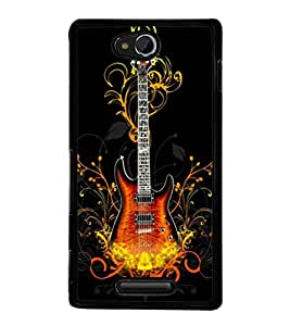printtech Cool Guitar Pattern Design Fire Back Case Cover for Sony Xperia C , Sony Xperia C HSPA+ C2305